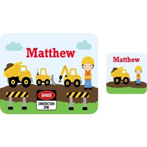 Construction Vehicles Hardboard Placemat & Coaster