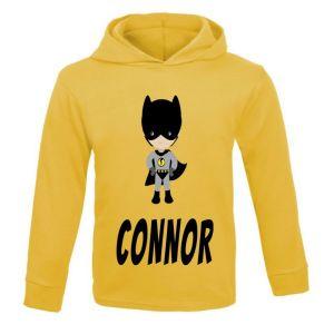 Bat Boy Superhero Any Name Childrens Cotton Hoodie