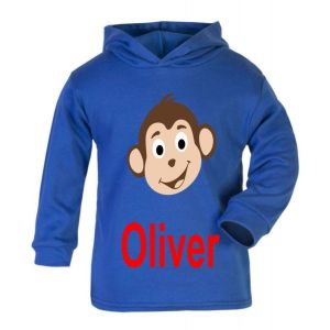 Monkey Any Name Childrens Cotton Hoodie