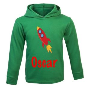 Rocket Any Name Childrens Cotton Hoodie
