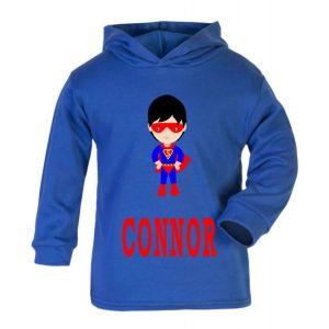 Superhero Boy Any Name Childrens Cotton Hoodie