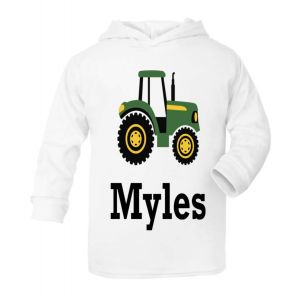 Tractor Any Name Childrens Cotton Hoodie