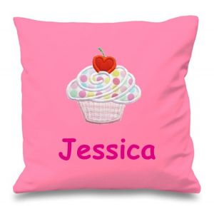 Cupcake Any Name Embroidered Cushion