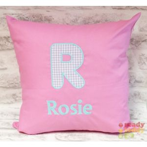 Applique Letter (CHOOSE FABRIC) Any Name Embroidered Cushion