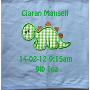 Dinosaur Applique Design + Text Baby Cotton / Fleece Blanket