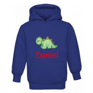 Dinosaur Any Name Childrens Embroidered Hoodie