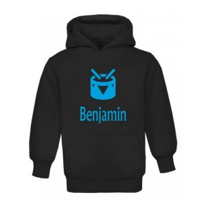 Drum Silhouette Any Name Childrens Hoodie