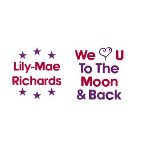 We Heart You To The Moon & Back + Name & Stars Design