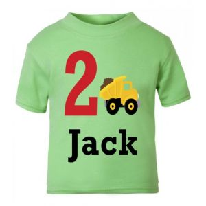 Dump Truck Birthday Any Name & Number Childrens Printed T-Shirt