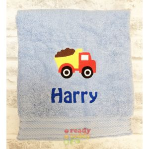 Name + Dump Truck Embroidered Design Bath Towel