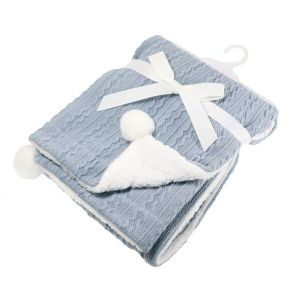 Any Name Dusty Blue Cable Knit Wrap Baby Blanket