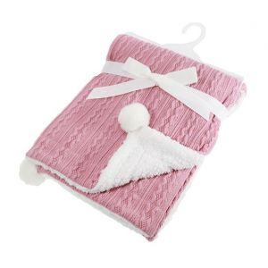 Any Name Dusty Pink Cable Knit Wrap Baby Blanket