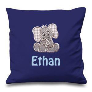 Elephant Any Name Embroidered Cushion