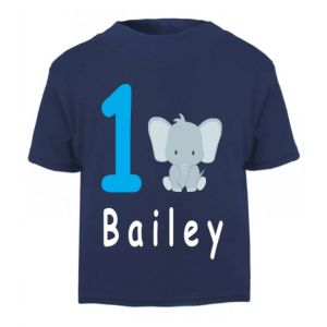 Elephant Birthday Any Name & Number Childrens Printed T-Shirt