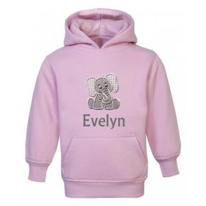 Elephant Any Name Childrens Embroidered Hoodie