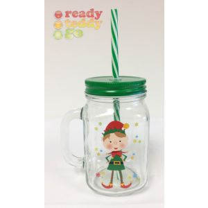 Elf Glass Jar Christmas Cup with Straw