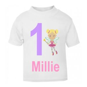 Fairy Birthday Any Name & Number Childrens Printed T-Shirt