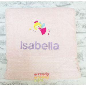 Name + Fairy Embroidered Design Bath Towel