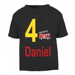 Fire Engine Birthday Any Name & Number Childrens Printed T-Shirt