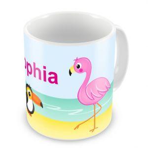 Tropical Flamingo + Name Mug