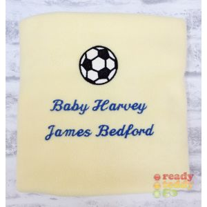 Any Name or Text (3 Lines) + Football Baby Cotton / Fleece Blanket