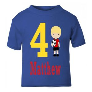 Football Player Birthday Any Name & Number Childrens Printed T-Shirt