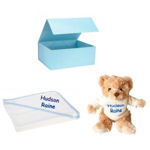 Knitted Jumper Teddy Bear + Hooded Bath Towel Baby Boy Girl Unisex Gift Box Set