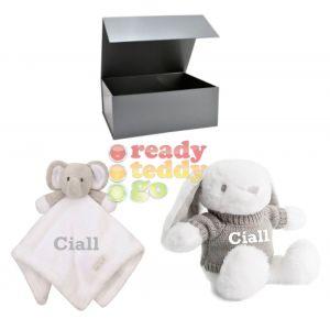 Elephant Comforter + Rabbit Teddy Bear Baby Boy Girl Unisex Gift Box Set