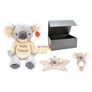 Keel Eco Baby Koala Teddy Bear + Comforter + Rattle Baby Boy Girl Unisex Gift Box Set