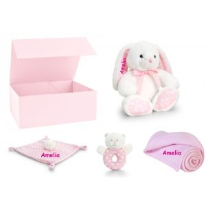 Baby Girl Rabbit Teddy Bear + Bear Comforter + Rattle + Blanket Gift Box Set