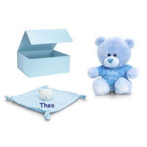 Baby Boy Blue Teddy Bear + Comforter Gift Box Set
