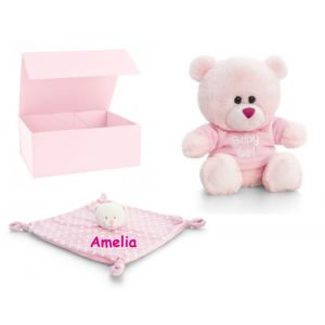 Baby Girl Pink Teddy Bear + Comforter Gift Box Set