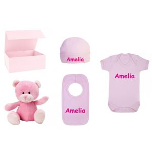 Baby Girl Pink Teddy Bear + Babygrow + Hat + Bib Gift Box Set
