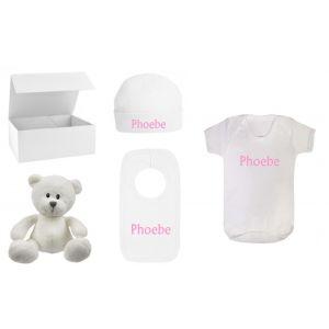 Baby Boy / Girl / Unisex White Teddy Bear + Babygrow + Hat + Bib Gift Box Set