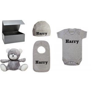 Baby Boy / Girl / Unisex Grey Teddy Bear + Babygrow + Hat + Bib Gift Box Set