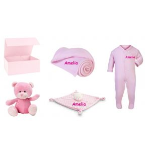 Baby Girl Teddy Bear + Bear Comforter + Sleepsuit + Blanket Gift Box Set