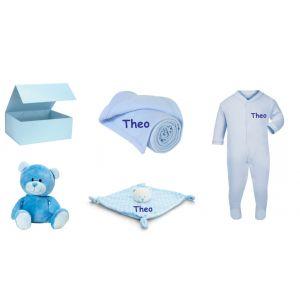 Baby Boy Teddy Bear + Bear Comforter + Sleepsuit + Blanket Gift Box Set