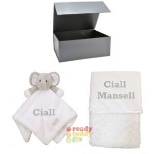Elephant Comforter + Rose Wrap Baby Blanket Boy Girl Unisex Gift Box Set