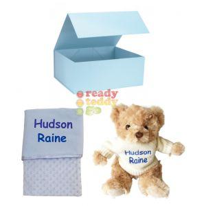 Knitted Jumper Teddy Bear + Bubble Mink Wrap Baby Blanket Boy Girl Unisex Gift Box Set