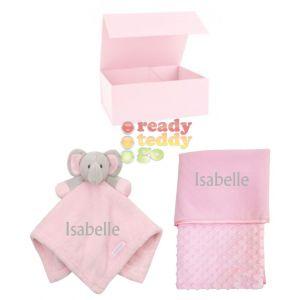 Elephant Comforter + Bubble Mink Wrap Baby Blanket Boy Girl Unisex Gift Box Set