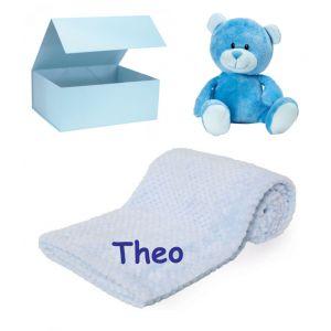 Teddy Bear + Waffle Wrap Baby Blanket Boy Girl Unisex Gift Box Set
