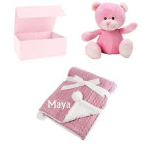 Teddy Bear + Cable Knit Wrap Baby Blanket Boy Girl Unisex Gift Box Set