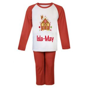 Christmas Gingerbread House Any Name Childrens Pyjamas