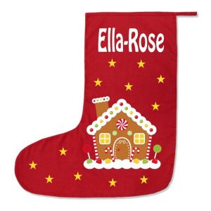 Gingerbread House Any Name Printed Christmas Stocking