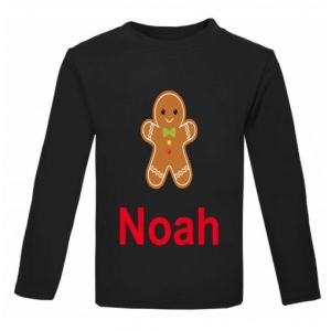 Christmas Gingerbread Man Any Name Childrens Printed T-Shirt