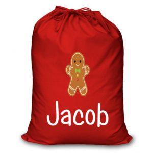Gingerbread Man Any Name Printed Christmas Sack