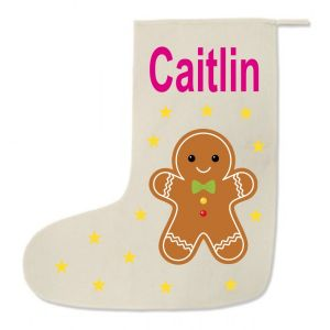 Gingerbread Man Any Name Printed Christmas Stocking