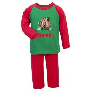 Christmas Gingerbread House Any Name Embroidered Pyjamas