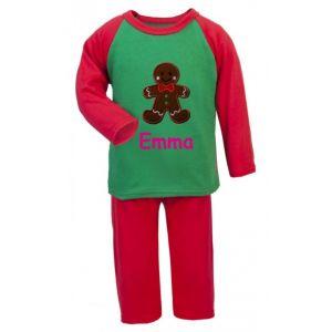 Christmas Gingerbread Man Any Name Embroidered Pyjamas