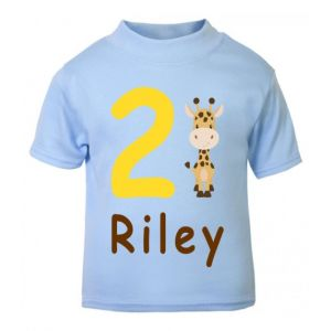 Giraffe Birthday Any Name & Number Childrens Printed T-Shirt